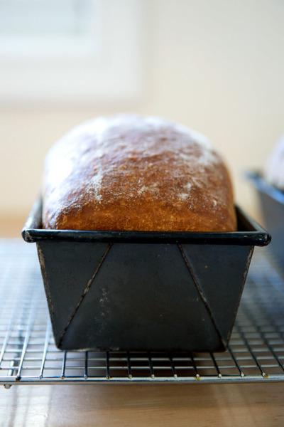 Una hogaza de brioche recién horneado en su molde para pan sobre una rejilla para enfriar.