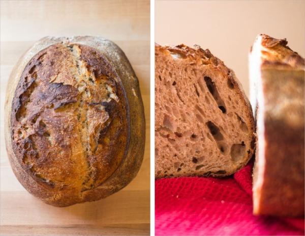 Experimento de germen de trigo de masa madre con tartina