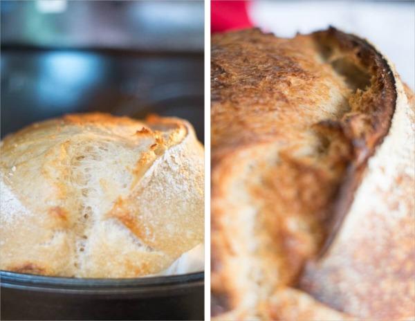Maravilloso resorte de horno sobre el pan de masa madre de alta hidratación