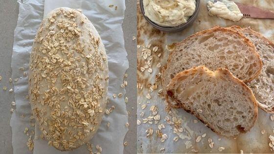 Pan de avena de masa fermentada pan de avena de