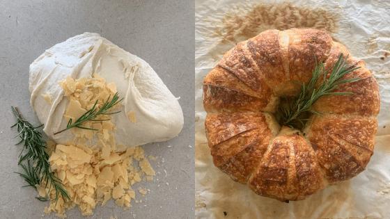 Pan de masa madre con parmesano y romero ¡fragante y